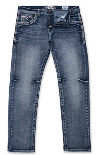 Monarchy Men's Slim Fit Stretch Denim Distressed Embellished 5 Pocket Jeans Blue Wash 38