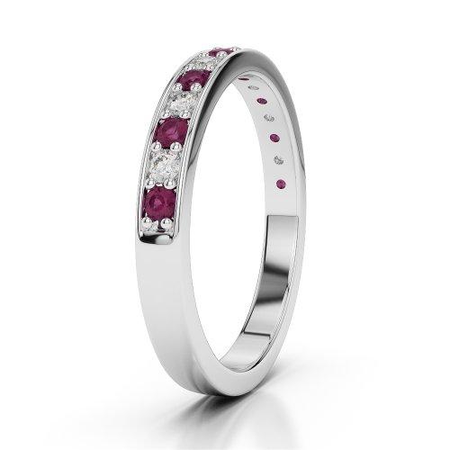 G-H/VS 0,30CT Coupe ronde Certifié Rubis et diamants en platine 950Agdr-1083