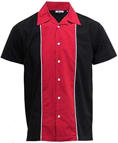Relco Hombre Manga Corta Bolos Camisa en Negro/Rojo Nuevo Talla M -XXL: Amazon.es: Ropa y accesorios