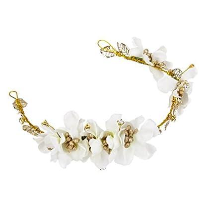 Rosenice Couronne De Fleurs Blanche Bandeau Headband Serre Tete Pour