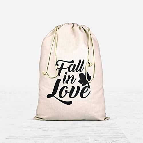 Fall In Love Favor Bag Wedding Favor Candy Bar Bags Cotton Muslin Drawstring Bags for Bridal Shower wedding favor bags ()