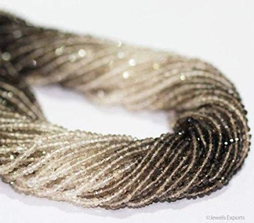 Beads Bazar Natural Beautiful jewellery Natural Shaded Smoky Quartz Micro Faceted Loose Rondelle Gemstone Craft Beads Strand 13