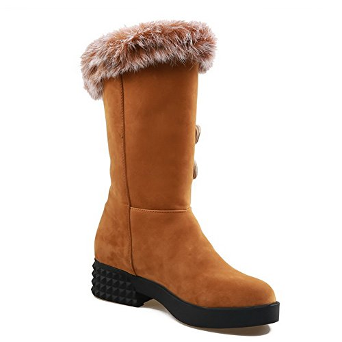 Amoonyfashion Kvinners Lukket Tå Rund Toe Lave Hæler Støvler Med Pels Ornament Og Metall Gul