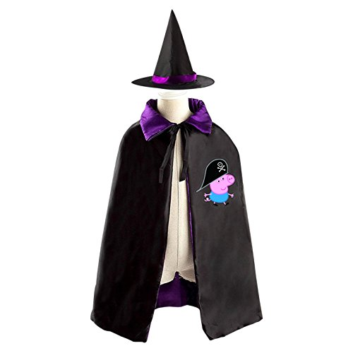 Picachu Costumes (Peppa Pirate Pig Witch Cloak Reversible Cosplay Costume Satin Cape Boys Girls Red)