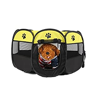 UNFADE MEMORY Portable Foldable Pet Playpen, Indoor/Outdoor, Dog/Cat/Puppy Exercise Pen Kennel, Removable Mesh Shade… Click on image for further info.