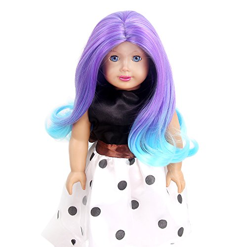 STfantasy American Girl Doll Wigs Ombre Purple Blue Highlights Long Wavy Curly Hairpiece -
