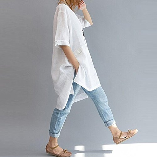 Amazon.com : Gallity Hot Sale Women Plus Size Irregular Loose Linen Half Sleeve Shirt Vintage Tunic Blouse (3XL, Gray) (3XL, White) : Garden & Outdoor