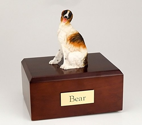 GENUINE North American Hardwood and Borzoi Sitting Figurine Urn Xlarge