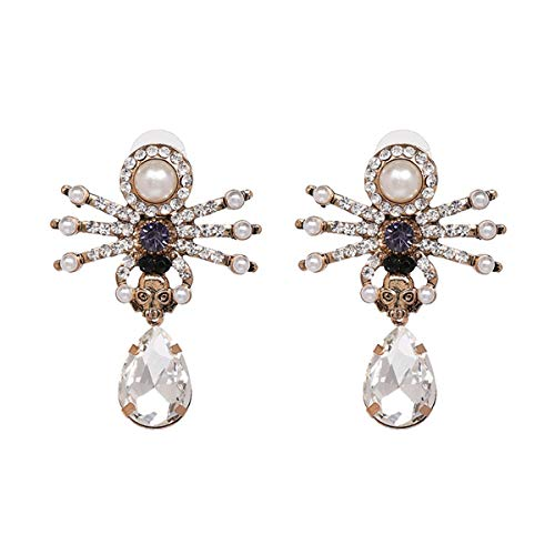 Libaraba Diamond Accent Spider Skull with Rhinestone Drop Earrings with Jewelry Box,Spider Earrings for Women (White) ()
