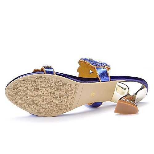 Abby MNS-T018 Womens Sweet Fashion Wedding Bride Party Job Rhinestone Suede Leather Low heel Sandals Blue unYNG1