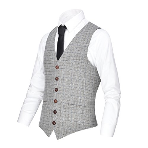 - VOBOOM Men's V-Neck Suit Vest Casual Slim Fit Dress 6 Button Vest Waistcoat (Beige, XL)