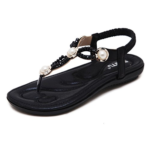 Flat Flip Sandals Bohemian Black Flop Prime Dolphinbanana Summer Glitter Glossy Shoes Thongs w4tWx0