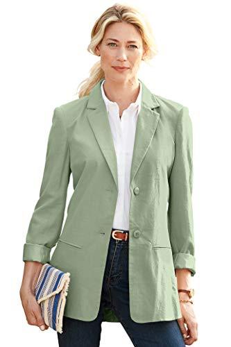 Chadwicks of Boston Womens Long Length Linen Blazer | Casual and Work Blazer