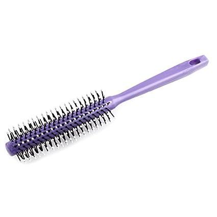 Herramienta de peluquería DealMux plástico cilíndrico de dientes anchos del pelo ondulado de cardado del cepillo
