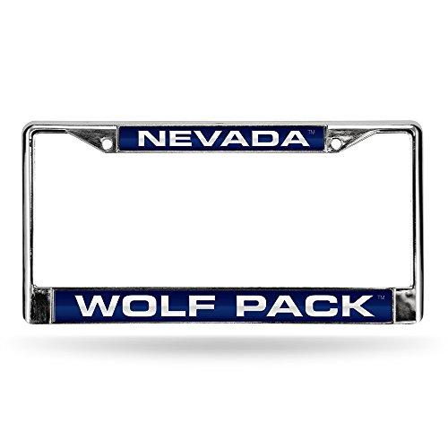(Rico Industries NCAA Nevada Wolf Pack Laser Cut Inlaid Standard License Plate Frame, Chrome, 6