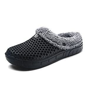 Puremee Unisex Lightweight Cotton Plush Lining Slippers Outdoor Indoor Slip-on House Shoes, Garden Clogs