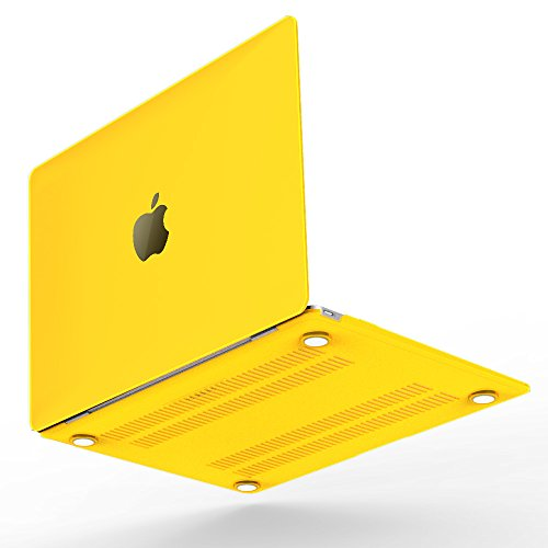 iBenzer Basic Soft-Touch Plastic Hard Case Cover for Macbook 12'' inch Retina Display [Gold, Space Gray, Silver] (Yellow) Fits 12' Subwoofers