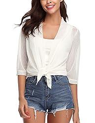 Iclosam Womens Tie Front 3 4 Sleeve Sheer Shrug Cropped Bolero Cardigan White Xx Large