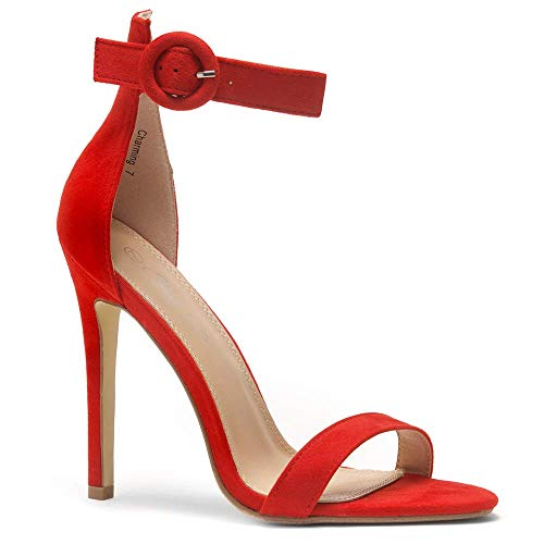 (Herstyle Charming Women's Open Toe Ankle Strap Stiletto Heel Dress Sandals Elegant Wedding Party Shoes Red 5.5)