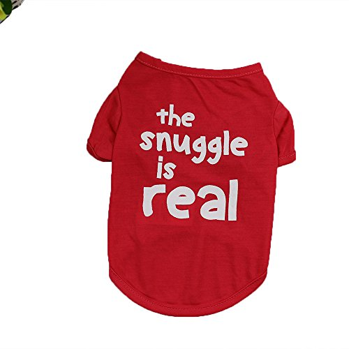 t Summer T Shirts Cute Letter Print Costume Outfit for Small Dogs (M,Red) ()