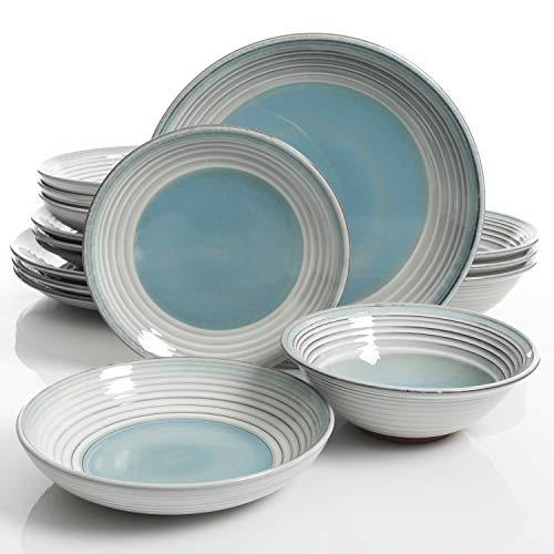 Gibson Elite Sunbreeze 16 Piece Double Bowl Terracotta Dinnerware Set, Blue