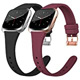 Tobfit Silicone Slim Bands Compatible for Fitbit Versa 2/Versa/Lite/SE, Narrow & Thin Sport Wristbands with Metal Buckle for Women/Men, Black/Wine Red, Small