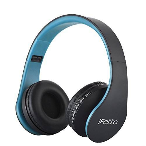 Fetta Wired On Ear Headphones with 3.5mm Audio Cable Wireless Stereo Bluetooth Headphones with Mic Protable Headsets Earphones for Smartphones,PC,Laptop,MP3 Player and More (Blue)