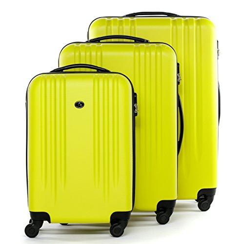 FERGÉ Dreier Kofferset Marseille - Trolley-Koffer gelb aus ABS - (DURE-FLEX) - 3 Trolley-Hartschalenkoffer mit 4 Rollen