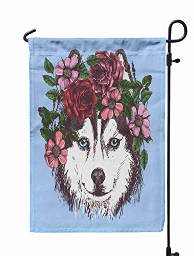 GROOTEY Small Garden Flag Boho,Home Yard Decorative 12X18 Inches Husky Hippie Flowers Dog Portrait in The Style Boho Your Blog Logo Design hion Othe r Double Sided Seasonal Garden Flags -