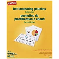 Staples Thermal Laminating Pouches, Letter Size, 9-inches x 11.5-inches, 3-mil Thick, 2 Packs of 50