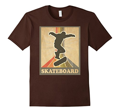 Mens Vintage and Retro Skateboarding Shirt Skateboard Tee Small Brown