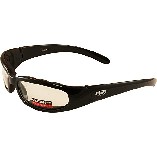 - New - Global Vision - Chicago EVA Padded Riding Glasses, Black Frame and Clear Scratch-Resistant Lenses.