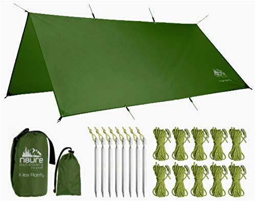 (Hammock Rainfly Tarp Premium 10x10' Square Ultralight Ripstop Nylon Waterproof Outdoor Tent Camping Shelter Backpack Hike Travel Bushcraft Survival Gear Includes Stakes Ropes Stuff Sacks)