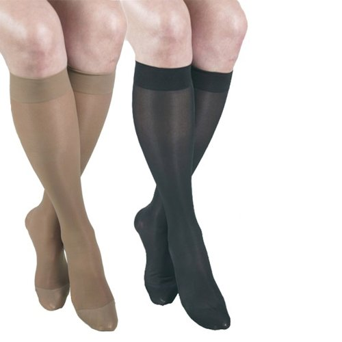 ITA-MED Sheer Knee Highs, Compression (23-30 mmHg) Beige/Black, XLarge, 2 Count by ITA-MED