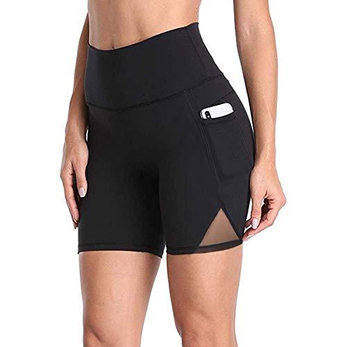 (DILANNI Women Exercise Yoga Shorts with Pockets High Waist Bike Workout Shorts(Black M)