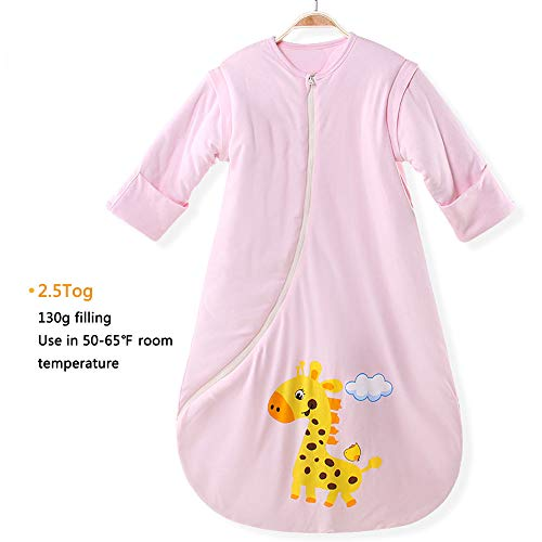 EsTong Unisex Baby Cotton Sleeper Gowns Toddler Wearable Blankets Long Sleeve Sleeping Bag Sack Pink Thick M from EsTong