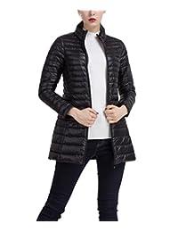 Lukitty Women's Lightweight Down Coat Mid-length Long Puffer Coat Parka