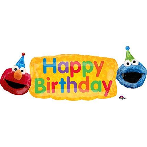 Sesame Street Elmo Cookie Monster Birthday Fun Super Shape Foil Mylar Balloon ()