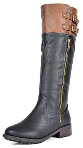 DREAM PAIRS Women's New Bradenn Black Camel Knee High Double Buckles Zipper Boots Size 9.5 B(M) US (Walmart For Christmas Gifts)