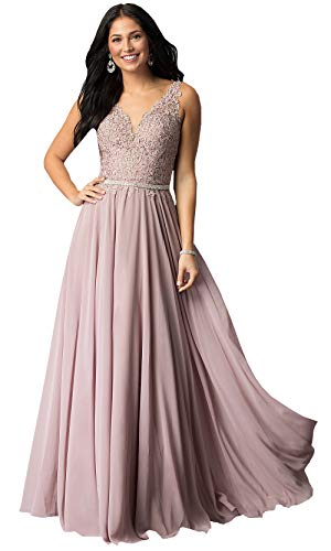 Women's V Neck Lace Bodice Chiffon Prom Dress Long Formal Evening Party Gowns (Dusty Rose,10)