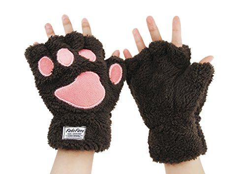 Women Cat Paw Claw Gloves Girls Plush Faux Fur Bear Hand Gloves Winter Fleece Warm Half Finger Gloves Mitten Ladies Cute Fingerless Thick Hang Neck Hand Wear Gloves with String