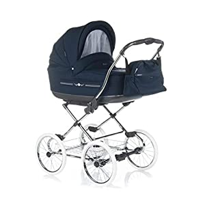 Pram Buggy Stroller Combination Car seat Classic Retro Baby Carrier ROAN Marita (P-214 Navy, 2in1)