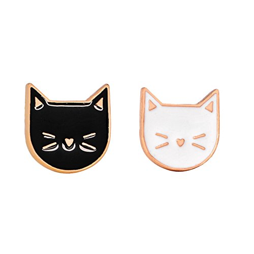 Cat Enamel Pin Cat Lapel Pins Charm Couple Brooch Pins for Party Graduation ()