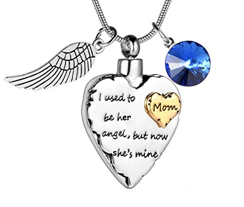 - SalaTrend I Used To Be His Angel Now He's Mine with Angel Wing Charm Cremation Jewelry Keepsake Memorial Urn Necklace with Birthstone crystal (Mom)