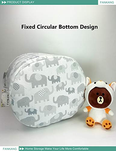 FANKANG Storage Baskets,Collapsible & Convenient Nursery Hamper Laundry Bin Toy Collection Organizer for Kid's Room (Full Elephants)