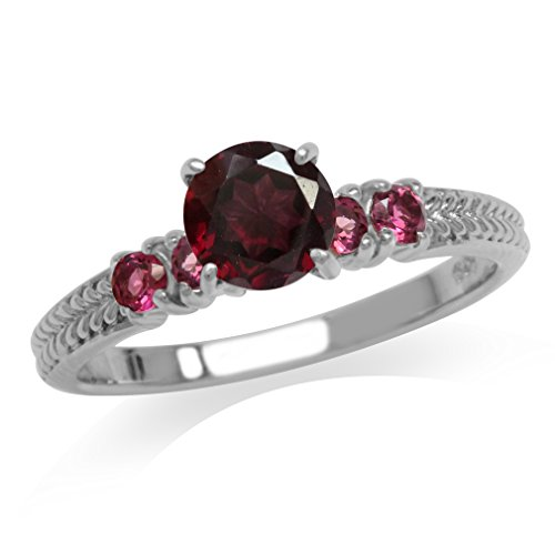 1.06ct. Rhodolite Garnet & Pink Tourmaline White Gold Plated 925 Sterling Silver Engagement Ring Size 7