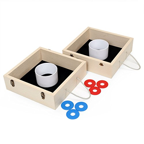 Funmall Wood Washer Toss Game Classic Yard Games for Lawn,Beach,Parties, Camping Party by Funmall