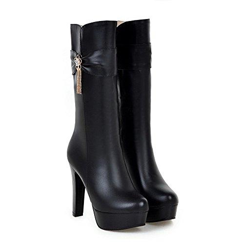 Allhqfashion Mujeres Solid High-heels Ronda Cerrado Dedo Del Pie Pu Cremallera Botas Negro