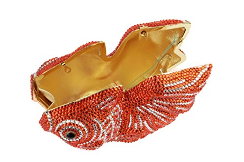 Yilongsheng femmes Poisson en forme de cristaux Embrayage Sac de soirée pour Bridal Prom Party (Orange)