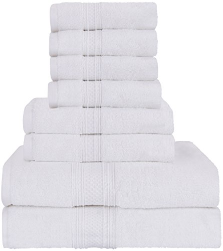 Utopia Towels Luxurious 700 GSM Thick 8 Piece Towel Set in White; 2 Bath Towels, 2 Hand Towels and 4 Washcloths 100% Ring Spun Cotton Hotel Quality for Maximum Softness and High Absorbency